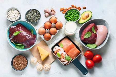 Foods High in Zinc for lowers cholesterol; reproduce health, boosts immune system. Healthy diet concept. Top view Фото со стока - 134404846