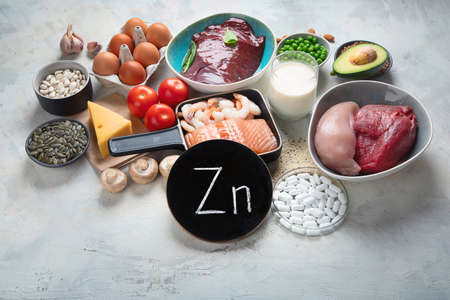 Foods High in Zinc for lowers cholesterol; reproduce health, boosts immune system. Healthy diet concept.
