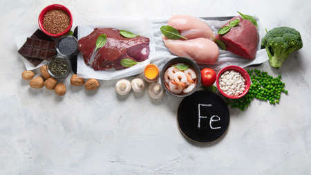 Foods high in Iron for boosts hemoglobin and red blood cell production. Food for healthy pregnancy. Top view with copy space