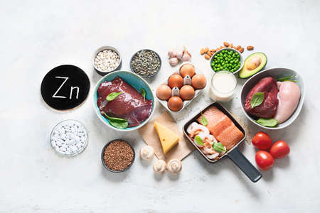 Foods High in Zinc for lowers cholesterol; reproduce health, boosts immune system. Healthy diet concept. Top view with copy space