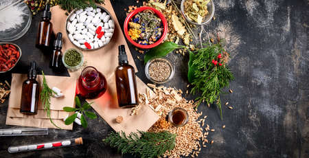 Herbal medicine and homeopathy concept.
