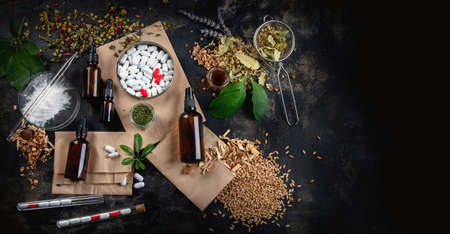 Alternative herb medicine. Herbal medicine and homeopathy concept. top view