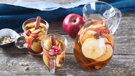 Apple cider cocktail with cranberries cinnamon, cardamom and anise 版權商用圖片