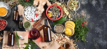 Alternative herb medicine. Herbal medicine and homeopathy concept.