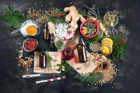 Alternative herb medicine. Herbal medicine and homeopathy concept