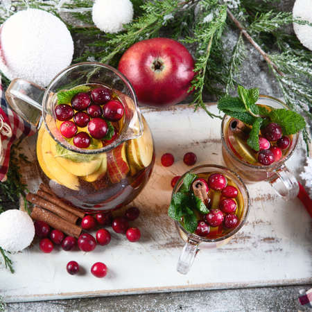 Christmas hot drink on wooden table