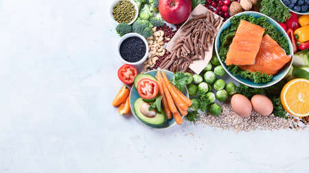 Healthy food with dietary fiber, antioxidants, minerals and vitamins.