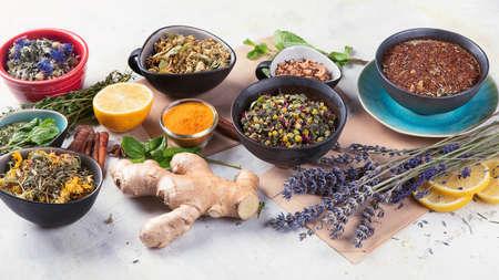 Different kinds of herbal tea. Natural herbs medicine. Alternative medicine concept.