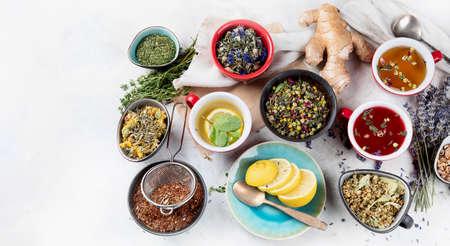 Different kinds of herbal tea. Alternative medicine concept.