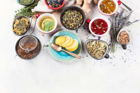 Different kinds of herbal tea. 版權商用圖片