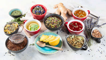Different kinds of herbal tea