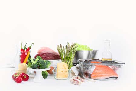 Low carb diet. Healthy eating concept. Front view with copy space Foto de archivo - 137896855