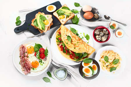 Tradidional egg dishes for breakfast. Essential Ways to Cook an Egg. Top view, flat lay