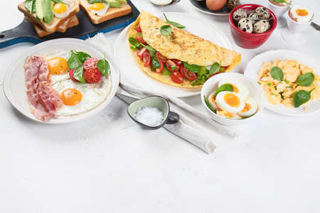 Tradidional egg dishes for breakfast. Essential Ways to Cook an Egg. mage with copy space