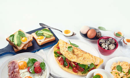 Tradidional egg dishes for breakfast. Essential Ways to Cook an Egg. Image with copy space