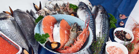 Fresh fish and seafood. Healthy diet eating concept. Panorama, banner
