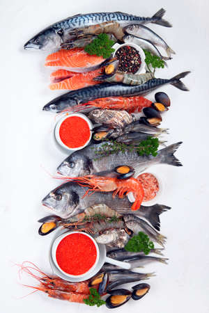 Fresh fish and seafood. Healthy diet eating concept. Top view with copy space