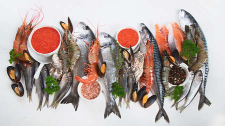 Fresh fish and seafood. Healthy diet eating concept. Top view