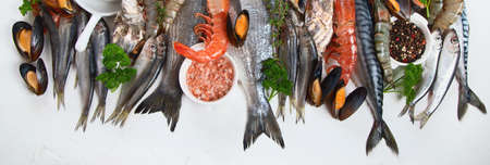Fresh fish and seafood. Healthy diet eating concept. Top view. Panorama, banner
