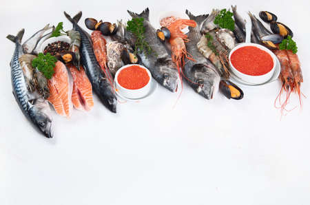 Fresh fish and seafood. Healthy diet eating concept. Image  with copy space 版權商用圖片