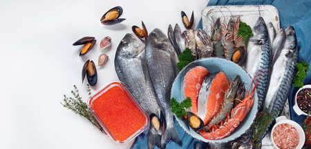 Fresh fish and seafood. Healthy diet eating concept. Top view with copy space. Panorama, banner 版權商用圖片