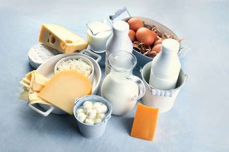 Different types of fresh farm dairy products. Foods rich in Calcium.