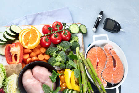 Low glycemic healthy foods for diabetic diet. Food with foods high in vitamins, minerals, antioxidants, smart carbohydrates. Top view