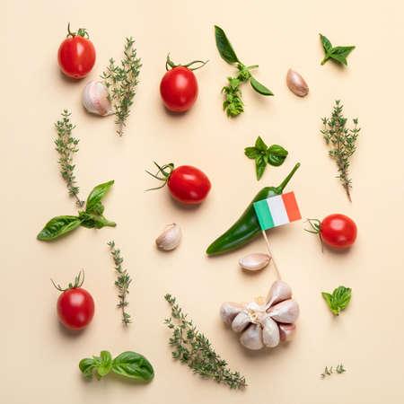 Colorful minimalist Italian food pattern. Top view, flat lay