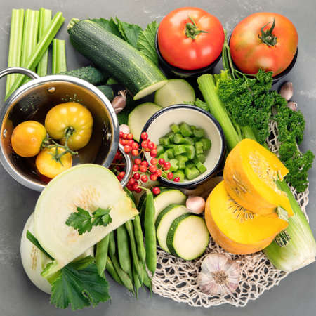 Summer vegetables with herbs. Healthy food clean eating. Top view