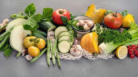 Summer vegetables with herbs. Healthy food clean eating. 版權商用圖片