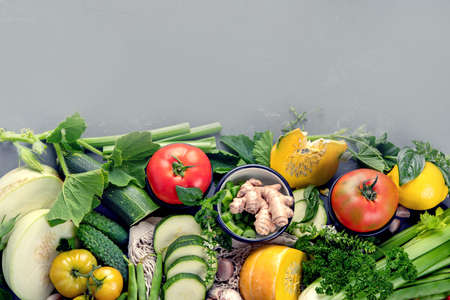 Summer vegetables with herbs. Healthy food clean eating. Top view, copy space