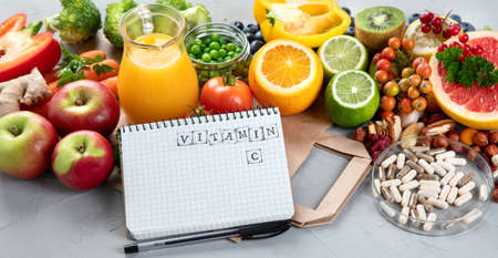 Foods high in vitamin C. Food rich in antioxidant, fiber, carbohydrates. Boost immune system and brain; balances cholesterol; promotes healthy heart. With notebook