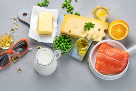 Foods rich in vitamin D. Top view Zdjęcie Seryjne