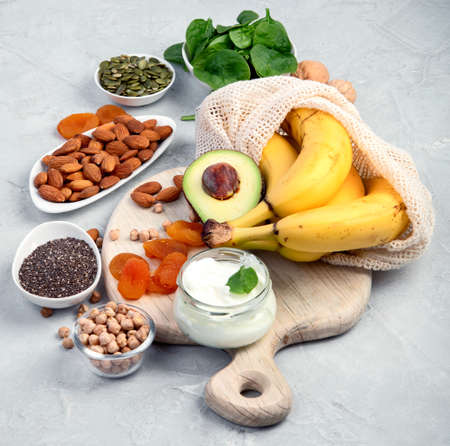 Assortment of products containing magnesium. Healthy diet food.