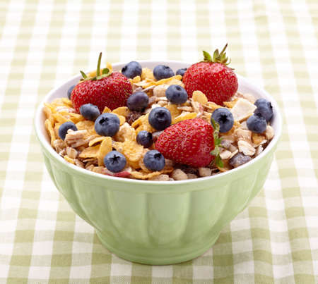 Bowl of healthy muesli and fresh berries Stock Photo - 15826331