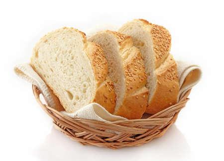 canasta de pan: Rebanadas de pan blanco Foto de archivo