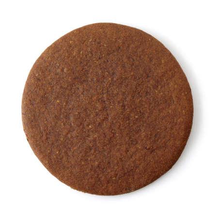galletas de jengibre: Galleta de jengibre redonda sobre fondo blanco Foto de archivo
