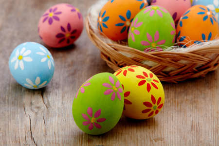 Colorful Easter eggs on wooden background Stock Photo - 18064843