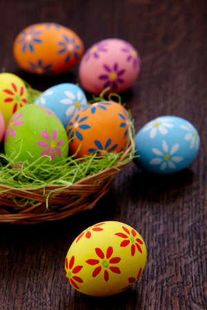 Colorful Easter eggs on wooden background Stock Photo - 18064845