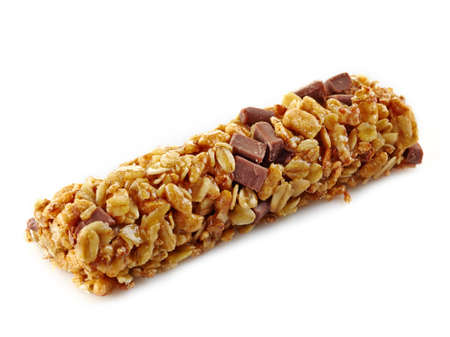 Granola bar with chocolate on white background