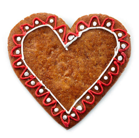 gingerbread heart: Gingerbread heart on white background