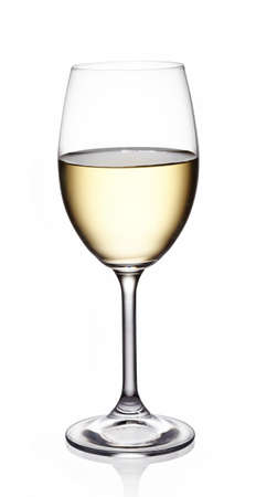Glass of white wine on white background Imagens