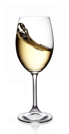 chardonnay: Glass of white wine on white background Stock Photo