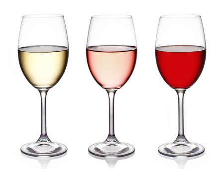 burgundy drink glass: Glasses of wine on white background