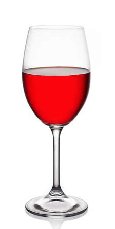 sulphide: Glass of red wine on white background