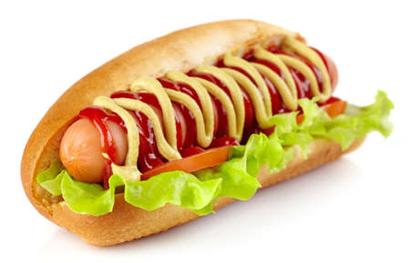 Hot dog with lettuce and tomato on white background photo
