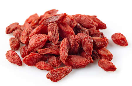 dried fruit: Dried goji berries on white background