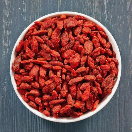 goji berry: Bowl of dried goji berries Stock Photo