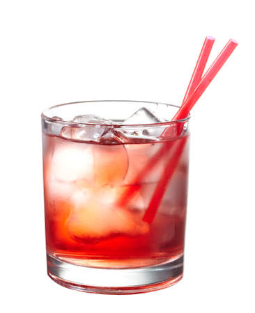 grenadine: Red alcoholic cocktail with ice isolated on white background Stock Photo