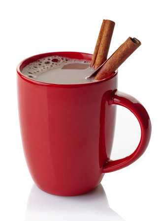 red hot: Red mug of hot chocolate drink with cinnamon sticks isolated on white background